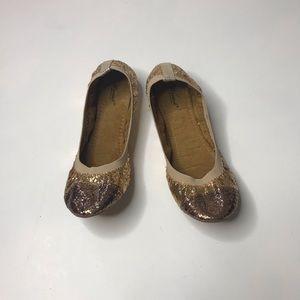 Wanted Two Tone Gold Glitter Flats Metallic
